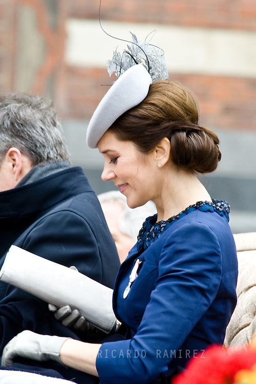 16.04.2015. Copenhagen, Denmark.<br /> Crown Princess Mary arrive to the Town Hall during festivities for the 75th birthday of Queen Margrethe II of Denmark.<br /> Photo:© Ricardo Ramirez