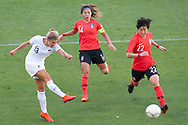 MELBOURNE, VIC - MARCH 06: Rosie White (13) of New Zealand attempts a shot at goal during The Cup of Nations womens soccer match between New Zealand and Korea Republic on March 06, 2019 at AAMI Park, VIC. (Photo by Speed Media/Icon Sportswire)