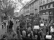 May Day Demonstration March.       (N72)..1981..01.05.1981..05.01.1981..1st May 1981..As part of International Workers Day the Irish Congress of Trades Unions organised a protest march in Dublin. The march to Dail Éireann was to highlight the inequities in wages,taxes etc carried by the working classes in Ireland. The May Day protest in Dublin was mirrored across Europe..Picture shows that many unions across the industries took part in the May Day march.
