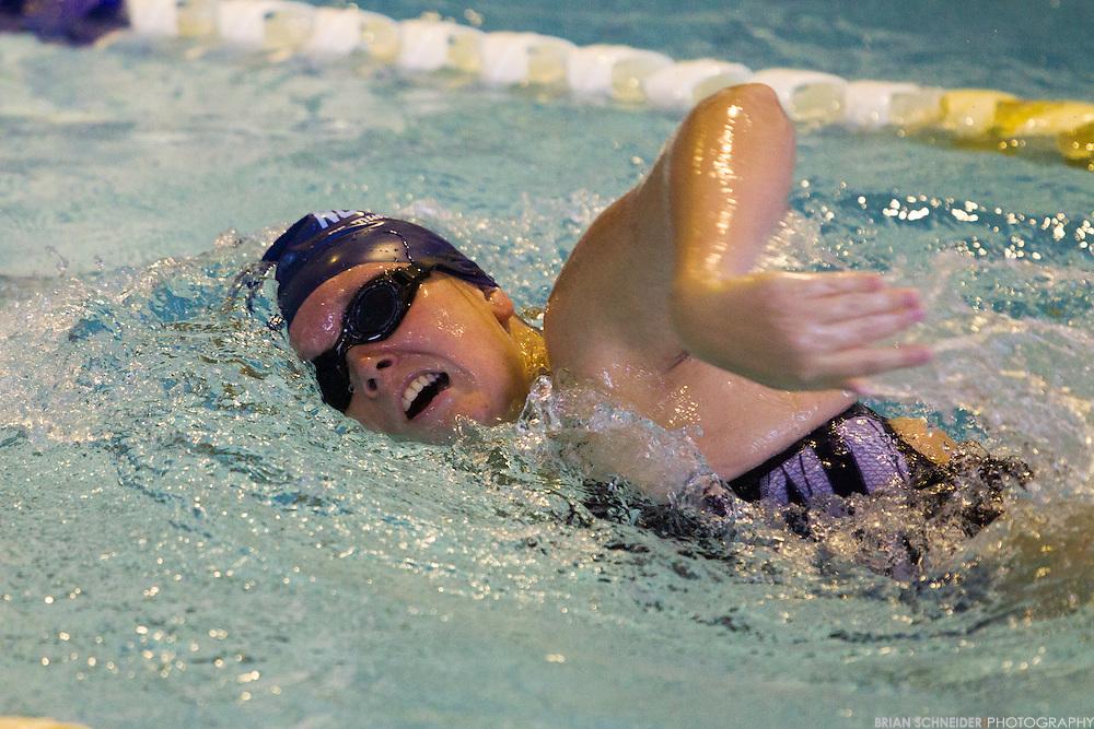 Jan 31, 2013; Baltimore, MD, USA; Notre Dame Gators take on Hollins College in Swimming on campus. Mandatory Credit: Brian Schneider-www.ebrianschneider.com