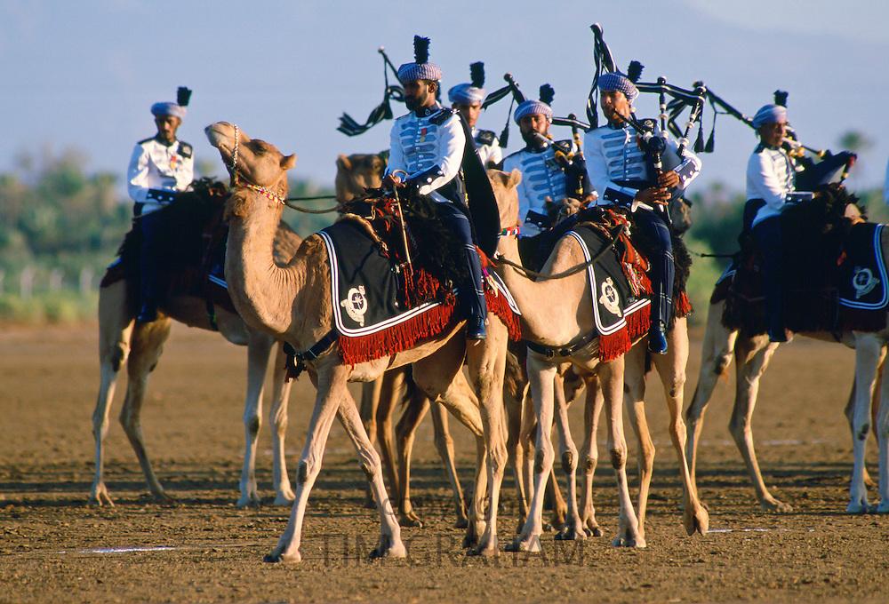 Royal Mounted Band playing bagpipes, Oman