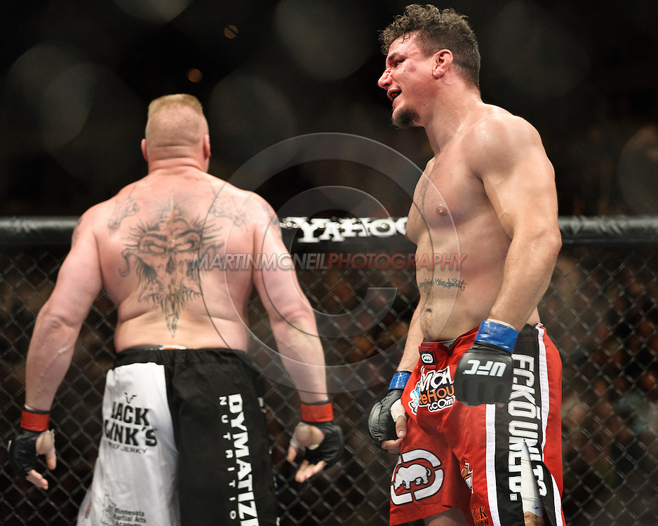 """LAS VEGAS, NEVADA. JULY 11, 2009: Brock Lesnar and Frank Mir during """"UFC 100: Making History"""" inside the Mandalay Bay Events Center in Las Vegas, Nevada."""