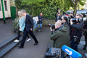 UNITED KINGDOM, London: 05 May 2016 London mayoral candidate Zac Goldsmith is pictured by press photographers as he arrives at his local polling station in Barnes, south west London to cast his vote for the London mayoral election. Rick Findler / Story Picture Agency