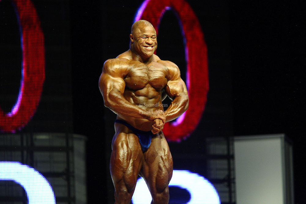 Bill Wilmore on stage at the finals for the 2009 Mr. Olympia competition in Las Vegas.