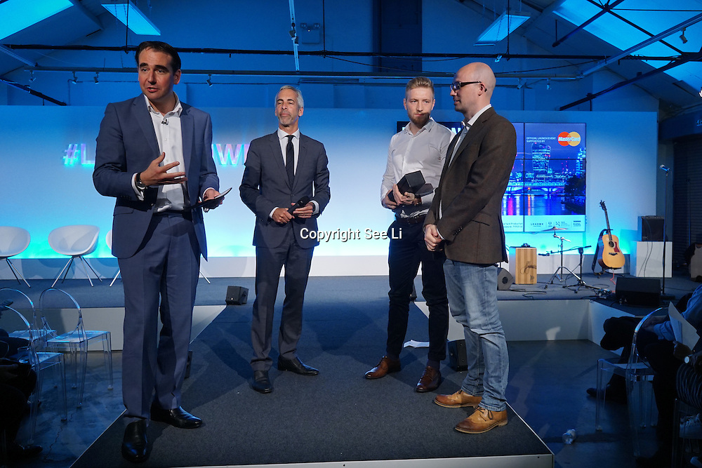 London,England,UK : 20 th June 2016 : Presenter Oli Barrett,Director, Cospa & Startup Britain London Technology Week 2016 opening press day at The Yard,Worship Street, London. Photo by See Li