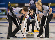 "Glasgow. SCOTLAND.   Russian, vice skip, Uliana VASILEVA, during  the ""Round Robin"" Game.  Scotland vs Russia,  Le Gruyère European Curling Championships. 2016 Venue, Braehead  Scotland<br /> Thursday  24/11/2016<br /> <br /> [Mandatory Credit; Peter Spurrier/Intersport-images]"