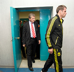 NAPELS, ITALY - Wednesday, October 20, 2010: Liverpool's manager Roy Hodgson and Jamie Carragher arrive for a press conference ahead of the UEFA Europa League Group K match against SSC Napoli at the Stadio San Paolo. (Pic by: David Rawcliffe/Propaganda)
