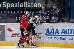 22.10.2016, Ice Rink, Znojmo, CZE, EBEL, HC Orli Znojmo vs Dornbirner Eishockey Club, 13. Runde, im Bild v.l. Adam Hughesman (HC Orli Znojmo) Olivier Magnan (Dornbirner) // during the Erste Bank Icehockey League 13th round match between HC Orli Znojmo and Dornbirner Eishockey Club at the Ice Rink in Znojmo, Czech Republic on 2016/10/22. EXPA Pictures © 2016, PhotoCredit: EXPA/ Rostislav Pfeffer