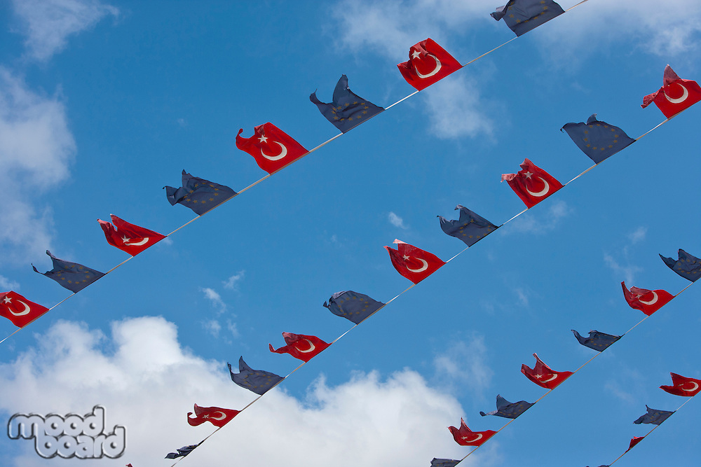 Close-up view of Turkish and EU bunting against clear sky