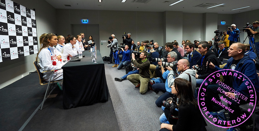 (L-R) Vitalia Diatchenko and Maria Sharapova and Anastasia Myskina and Svetlana Kuznetsova and Anastasia Pavlyuchenkova all from Russia during official press conference three days before the Fed Cup / World Group 1st round tennis match between Poland and Russia at Krakow Arena on February 4, 2015 in Cracow, Poland<br /> Poland, Cracow, February 4, 2015<br /> <br /> Picture also available in RAW (NEF) or TIFF format on special request.<br /> <br /> For editorial use only. Any commercial or promotional use requires permission.<br /> <br /> Mandatory credit:<br /> Photo by &copy; Adam Nurkiewicz / Mediasport