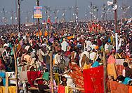 Crowd at Maha Kumbh Mela festival, world's largest congregation of religious pilgrims. Allahabad, India.