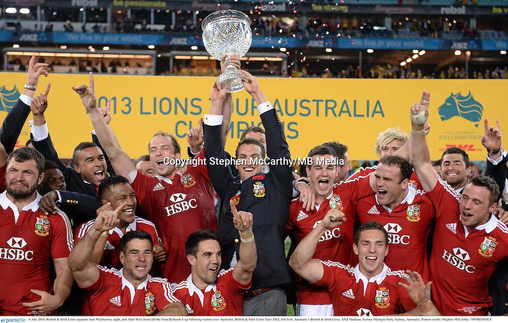 6 July 2013; British & Irish Lions captains Sam Warburton, right, and Alun Wyn Jones lift the Tom Richards Cup following victory over Australia. British & Irish Lions Tour 2013, 3rd Test, Australia v British & Irish Lions. ANZ Stadium, Sydney Olympic Park, Sydney, Australia. Picture credit: Stephen McCarthy / SPORTSFILE