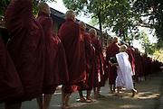 Buddhist monks collecting morning alms, Mandalay, Myanmar