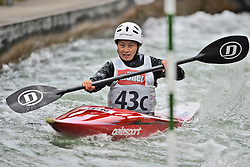 30.06.2013, Eiskanal, Augsburg, GER, ICF Kanuslalom Weltcup, Finale Kajak Teams, Frauen, im Bild Eriko ENDO (Japan), Finale, Team, Kajak, K1, Teams, Japan, Frauen // during final of the women's kayak team of ICF Canoe Slalom World Cup at the ice track, Augsburg, Germany on 2013/06/30. EXPA Pictures © 2013, PhotoCredit: EXPA/ Eibner/ Matthias Merz<br /> <br /> ***** ATTENTION - OUT OF GER *****