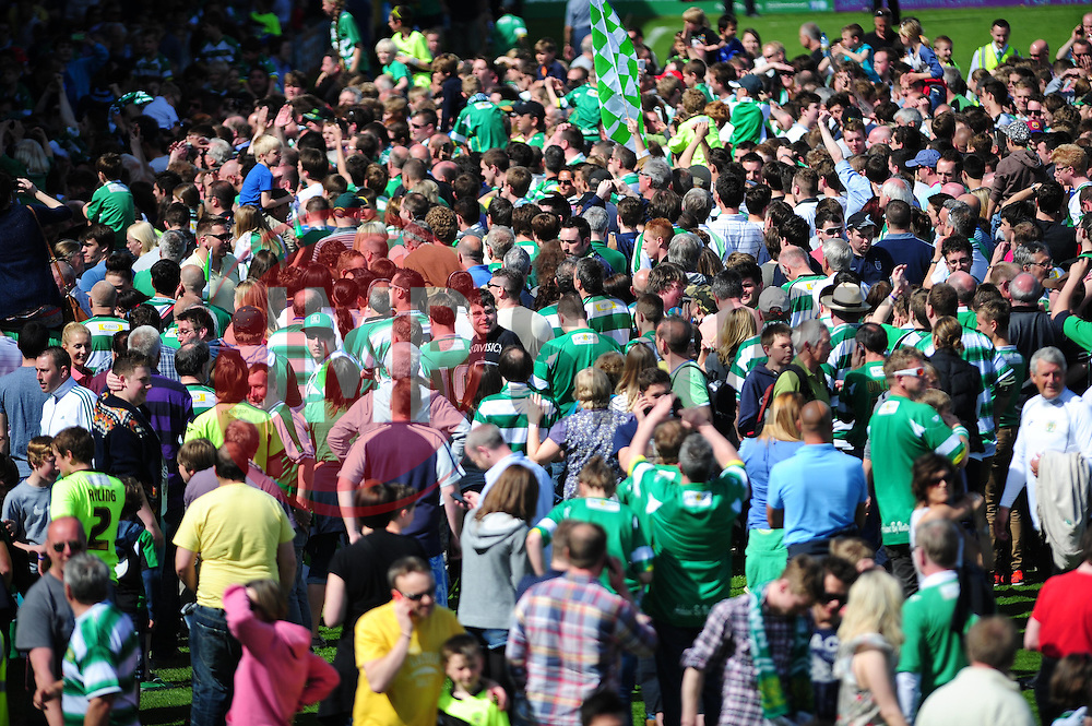 Yeovil Town fans invade the pitch after they beat Sheffield United in the play off semi final second leg - Photo mandatory by-line: Dougie Allward/JMP - Tel: Mobile: 07966 386802 06/05/2013 - SPORT - FOOTBALL - Huish Park - Yeovil - Yeovil Town V Sheffield United - NPOWER LEAGUE ONE PLAY-OFF SEMI-FINAL SECOND LEG
