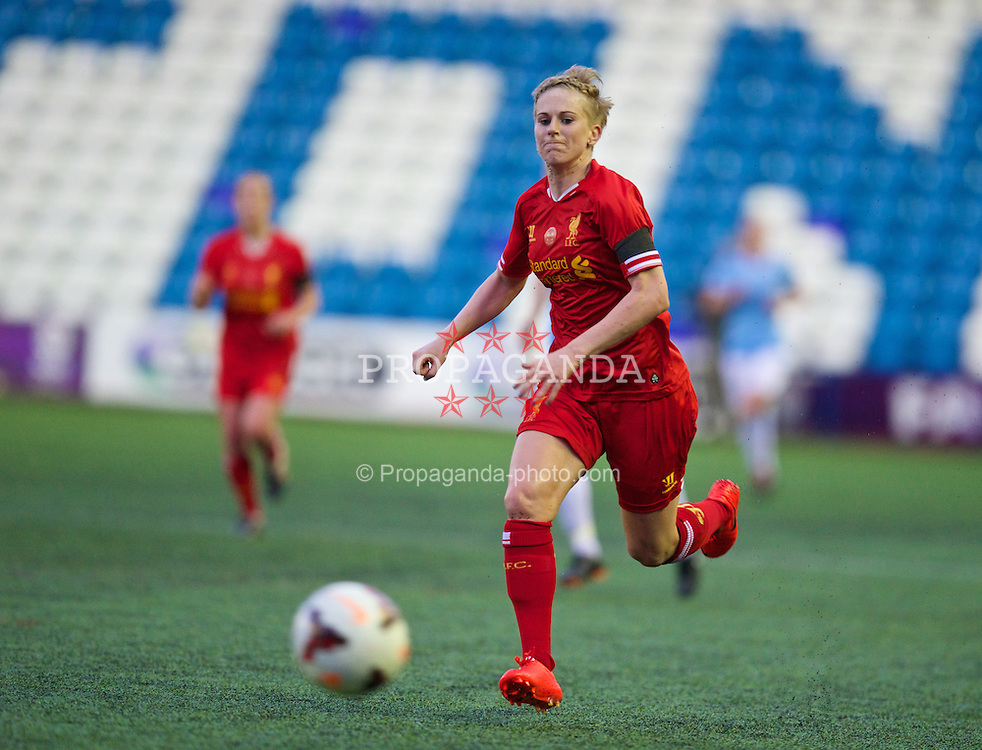 WIDNES, ENGLAND - Thursday, April 17, 2014: Liverpool Ladies' Natasha Dowie in action against Manchester City Ladies during the FA Women's Super League match at the Halton Stadium. (Pic by David Rawcliffe/Propaganda)