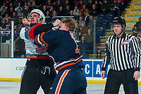KELOWNA, BC - DECEMBER 27:  Brodi Stuart #17 of the Kamloops Blazers drops the gloves with Liam Kindree #26 of the Kelowna Rockets durign third period at Prospera Place on December 27, 2019 in Kelowna, Canada. (Photo by Marissa Baecker/Shoot the Breeze)