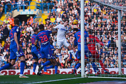 Patrick Bamford of Leeds United (9) heads above a crowd of players during the EFL Sky Bet Championship match between Leeds United and Bolton Wanderers at Elland Road, Leeds, England on 23 February 2019.