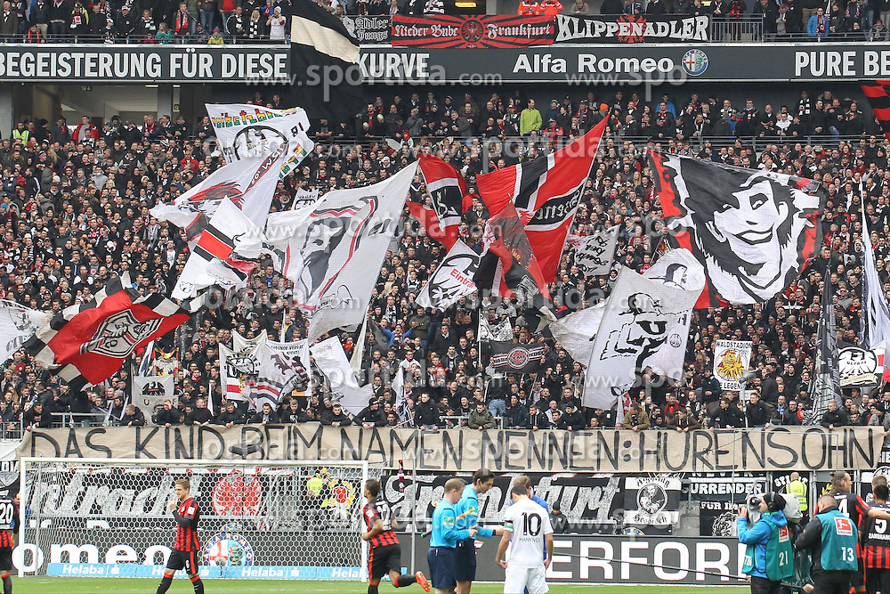 04.04.2015, Commerzbank Arena, Frankfurt, GER, 1. FBL, Eintracht Frankfurt vs Hannover 96, 27. Runde, im Bild Das Kind beim Namen: Huresohn, Eintracht Frankfurt Fans mit Fahnen und Trasparent vor dem Spiel, // during the German Bundesliga 27th round match between Eintracht Frankfurt and Hannover 96 at the Commerzbank Arena in Frankfurt, Germany on 2015/04/04. EXPA Pictures &copy; 2015, PhotoCredit: EXPA/ Eibner-Pressefoto/ Roskaritz<br /> <br /> *****ATTENTION - OUT of GER*****