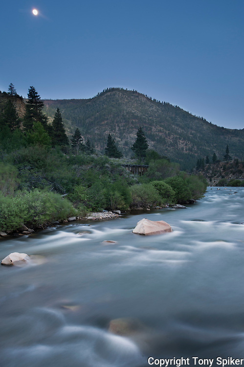 """Moon Over Truckee River 1"" - A long exposure photograph of the moon rising over the Truckee River."