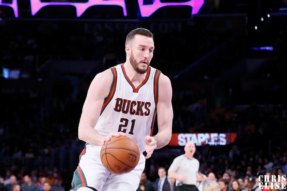 27 February 2015: Milwaukee Bucks center Miles Plumlee (21) dribbles during the Los Angeles Lakers 101-93 victory over the Milwaukee Bucks, at the Staples Center, Los Angeles, California, USA.