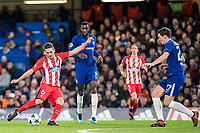 LONDON,ENGLAND - DECEMBER 05: Atletico Madrid (6) Koke, Chelsea (27) Andreas Christensen, Chelsea (14) Tiémoué Bakayoko  during the UEFA Champions League group C match between Chelsea FC and Atletico Madrid at Stamford Bridge on December 5, 2017 in London, United Kingdom.  <br /> ( Photo by Sebastian Frej / MB Media )