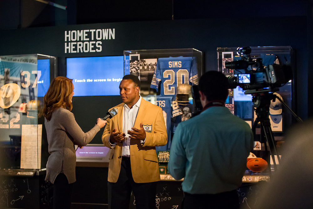 Barry Sanders interviewed by the Detroit Lions as he checks out the new NFL exhibit Gridiron Glory at The Henry Ford.  Photographed for The Henry Ford by PR Photographer KMS Photography