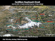 Map of Cordillera Huayhuash trekking circuit, Andes, Peru, South America