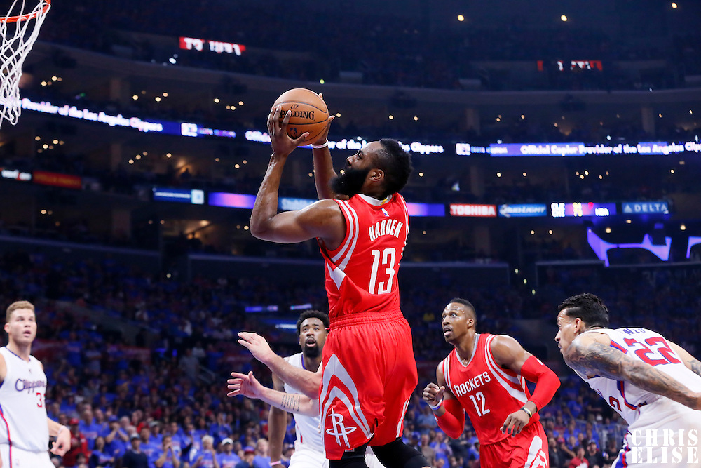 14 May 2015: Houston Rockets guard James Harden (13) goes for the layup during the Houston Rockets 119-107 victory over the Los Angeles Clippers, in game 6 of the Western Conference semifinals, at the Staples Center, Los Angeles, California, USA.