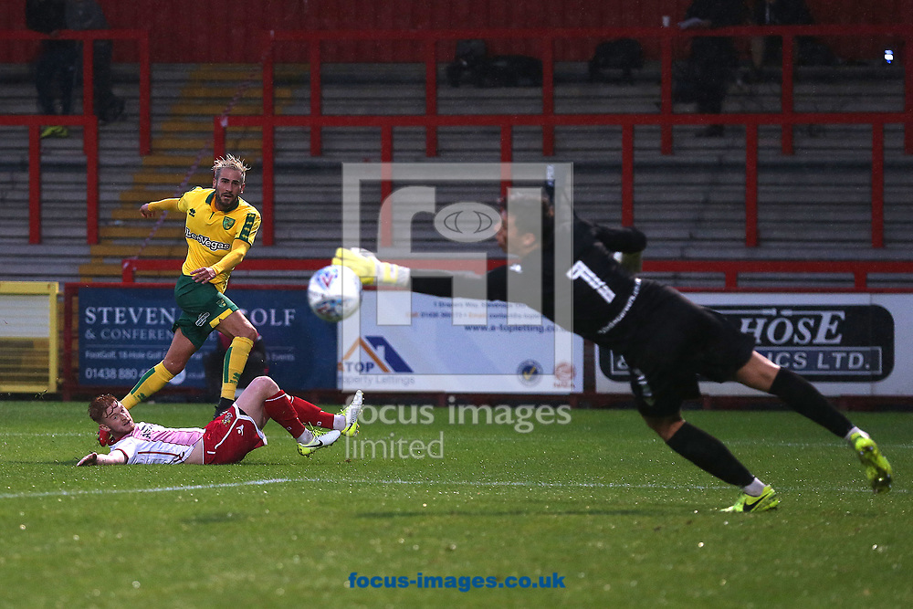 Mario Vrancic of Norwich has a shot on goal during the Pre-season Friendly match at the Lamex Stadium, Stevenage<br /> Picture by Paul Chesterton/Focus Images Ltd +44 7904 640267<br /> 11/07/2017