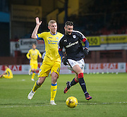 Dundee&rsquo;s Marcus Haber goes past St Johnstone&rsquo;s Brian Easton - Dundee v St Johnstone in the Ladbrokes Scottish Premiership at Dens Park, Dundee - Photo: David Young, <br /> <br />  - &copy; David Young - www.davidyoungphoto.co.uk - email: davidyoungphoto@gmail.com