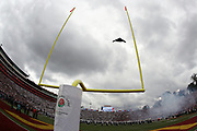 A U.S. Air Force B-2 stealth bomber flies over the Rose Bowl Stadium in this general view photograph taken during the playing of the National Anthem before the USC Trojans play in the 2017 NCAA Rose Bowl college football game against the Penn State Nittany Lions, Monday, Jan. 2, 2017 in Pasadena, Calif. The Trojans won the game 52-49. (©Paul Anthony Spinelli)