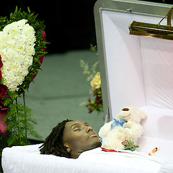 Dec 22, 2009; Westwego, LA, USA;  A view of the open casket during funeral services for Cincinnati Bengals wide receiver Chris Henry held at the Alario Center. Mandatory Credit: Derick E. Hingle-US PRESSWIRE