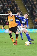 Hull City midfielder Sam Clucas and Freddie Sears of Ipswich Town during the Sky Bet Championship match between Hull City and Ipswich Town at the KC Stadium, Kingston upon Hull, England on 20 October 2015. Photo by Ian Lyall.