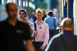 Commuters make their way into the city from Liverpool Street station as yet another hot day begins. London, August 07 2018.