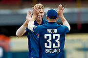 England ODI all rounder David Willey celebrates the wicket of India ODI wicket keeper MS Dhoni  during the 3rd Royal London ODI match between England and India at Headingley Stadium, Headingley, United Kingdom on 17 July 2018. Picture by Simon Davies.