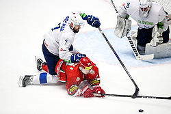 Klemen Pretnar of Slovenia vs Alexander Malyavko of Belarus during ice hockey match between Belarus and Slovenia at IIHF World Championship DIV. I Group A Kazakhstan 2019, on May 2, 2019 in Barys Arena, Nur-Sultan, Kazakhstan. Photo by Matic Klansek Velej / Sportida