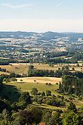 Blick auf Landschaft von Burg Lindenfels, Odenwald, Hessen, Deutschland