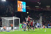 Simon Francis (2) of AFC Bournemouth leaps up for a header during the Premier League match between Bournemouth and Brighton and Hove Albion at the Vitality Stadium, Bournemouth, England on 21 January 2020.