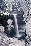 View of South Falls in winter, Silver Falls State Park, Marion County, Oregon