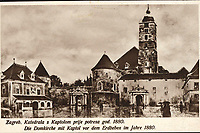 Zagreb : Katedrala s Kaptolom prije potresa god. 1880. = Die Domkirche mit Kaptol vor dem Erdbeben im Jahre 1880. <br /> <br /> ImpresumZagreb : Naklada S. Marković, 1927.<br /> Materijalni opis1 razglednica : tisak ; 8,6 x 13,5 cm.<br /> NakladnikNaklada S. Marković<br /> Mjesto izdavanjaZagreb<br /> Vrstavizualna građa • razglednice<br /> ZbirkaGrafička zbirka NSK • Zbirka razglednica<br /> Formatimage/jpeg<br /> PredmetZagreb –– Kaptol<br /> Katedrala Uznesenja Marijina (Zagreb)<br /> SignaturaRZG-KAP-20<br /> Obuhvat(vremenski)20. stoljeće<br /> NapomenaRazglednica nije putovala.<br /> PravaJavno dobro<br /> Identifikatori000955322<br /> NBN.HRNBN: urn:nbn:hr:238:737955 <br /> <br /> Izvor: Digitalne zbirke Nacionalne i sveučilišne knjižnice u Zagrebu