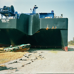 A large barge sits on top the levee following Hurricane Katrina which flooded the small city of Buras, Louisiana in Plaquemines Parish on August 29, 2005. ..(Mandatory Credit: Photo by Derick E. Hingle)