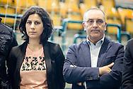 Melfi, Basilicata, Italia, 21/05/2016<br /> Da sinistra la deputata del M5S, Mirella Liuzzi, e il senatore del M5S, Vito Petrocelli, a Melfi per sostenere la candidata del Movimento 5 Stelle alle elezioni comunali di Melfi, Angela Bisogno. <br /> <br /> Melfi, Basilicata, Italia, 21/05/2016<br /> From the left the member of Parliament of the M5S, Mirella Liuzzi, and the senator of the M5S, Vito Petrocelli, in Melfi to support the Five Star Movement candidate in local elections in Melfi, Angela Bisogno.