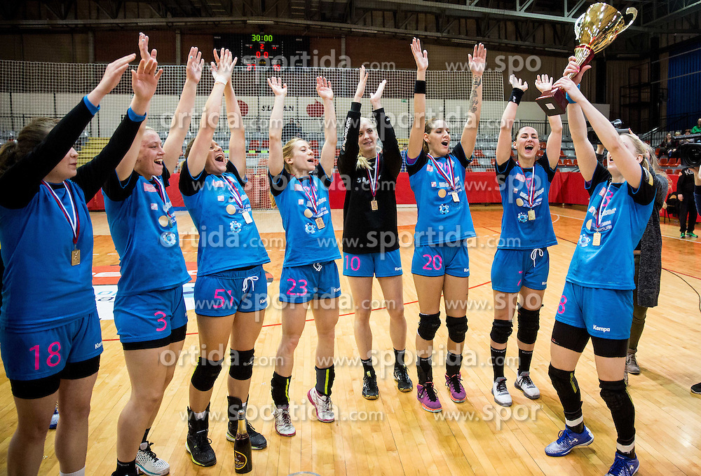Tamara Mavsar (R) and other players of Krim celebrate after winning during handball match between RK Krim Mercator and RK Mlinotest Ajdovscina in Final of Slovenian Women Cup 2015/16, on March 27, 2016 in Arena Kodeljevo, Ljubljana, Slovenia. Photo by Vid Ponikvar / Sportida