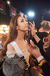 December 8, 2019, Atlanta, Georgia, USA: Dorina Chihaia, Miss Romania 2019 gets makeup done by an OP Cosmetics artist backstage during The Miss Universe Competition telecast, held at Tyler Perry Studios. Contestants from around the globe have spent the last few weeks touring, filming, rehearsing and preparing to compete for the Miss Universe crown. (Credit Image: © Benjamin Askinas/Miss Universe Organization via ZUMA Wire)