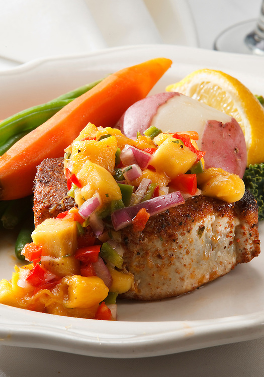 Ahi Tune with Pepper Salsa served with beans,carrots and potatoes