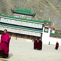 APRIL 5, 2012 : Tibetan monks leave a temple after a morning prayer t Labrang monastery,