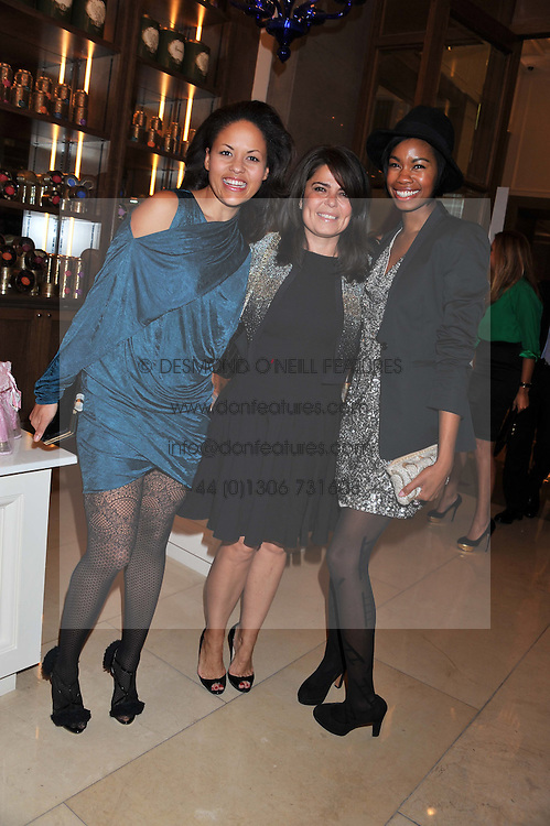 Left to right, RACHEL BARRETT, DANIELLA ISSA HELAYEL and TOLULA ADEYEMI at a dinner hosted by Pablo Ganguli and Ella Krasner to celebrate the 10th Anniversary of Liberatum and in honour of Sir Peter Blake held at The Corinthia Hotel, Nortumberland Avenue, London on 23rd November 2011.