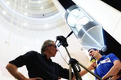 05-01-2016 TUR: European Olympic Qualification Tournament Persmoment, Ankara <br /> In het spelershotel was er een moment voor de pers / Coach Giovanni Guidetti geeft uitleg over de wedstrijd van gisteren, media telegraaf