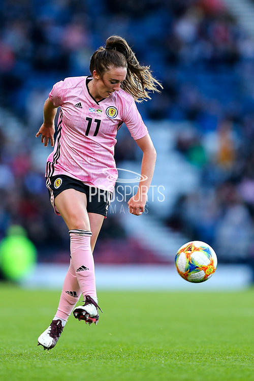 Lisa Evans (#11) of Scotland controls a long pass during the International Friendly match between Scotland Women and Jamaica Women at Hampden Park, Glasgow, United Kingdom on 28 May 2019.
